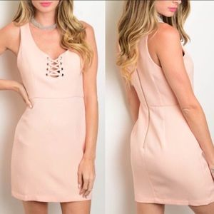 Adorable Blush Pink Lace Up Dress